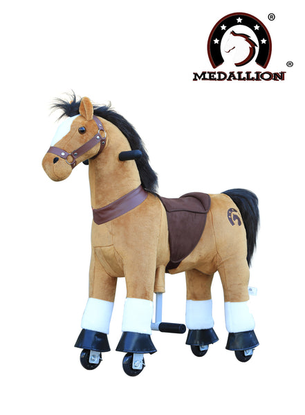 Medallion - My Medallion Ride On Toy 28 inches Tall Horse for Girls and Boys Small Size 3 to 4 Years Old or Up to 55 Pounds in Brown Horse Color