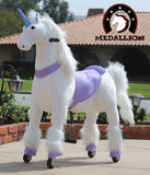 Medallion Ride On Toy Really Walking Horse PURPLE UNICORN - Large Size