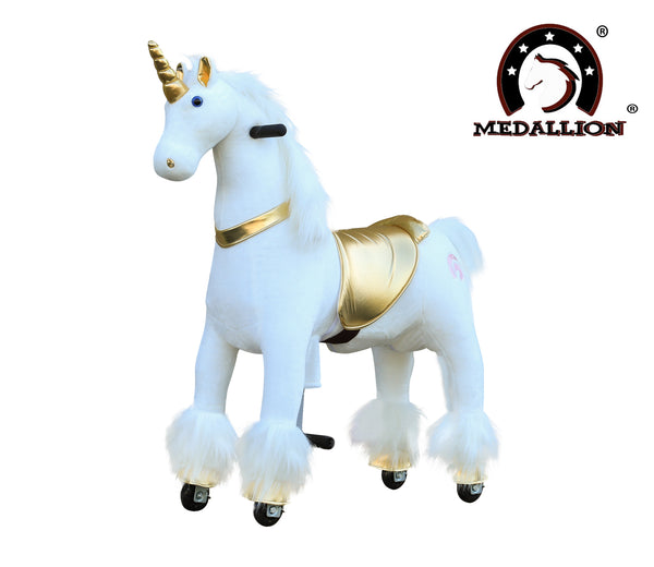 Medallion Ride On Toy Really Walking Horse GOLDEN UNICORN - Medium Size