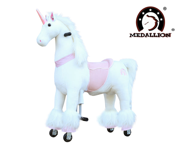 Medallion Ride On Toy Really Walking Horse PINK UNICORN - Medium Size