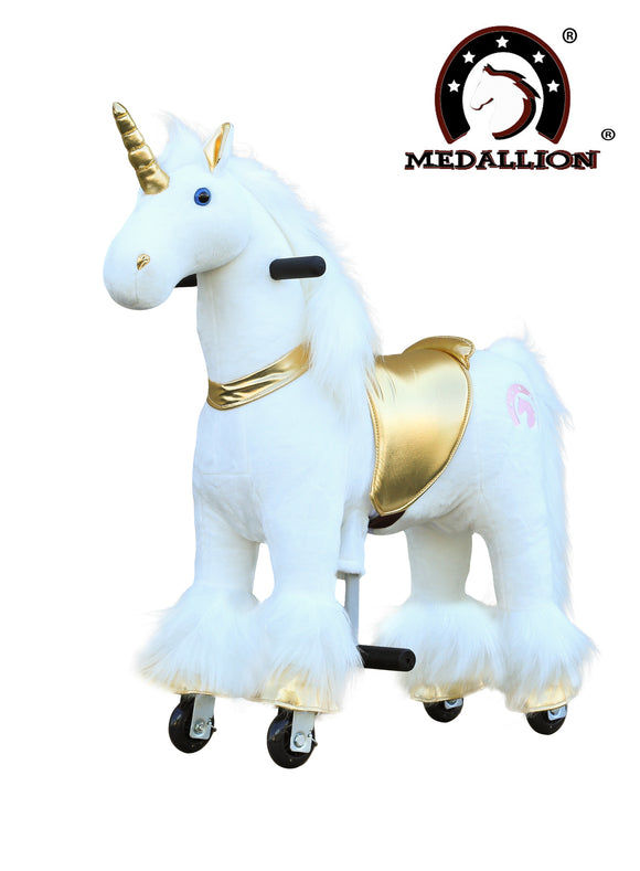 Medallion Ride On Toy Really Walking Horse GOLDEN UNICORN - Small Size