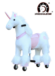 Medallion Ride On Toy Really Walking Horse PINK UNICORN - Small Size