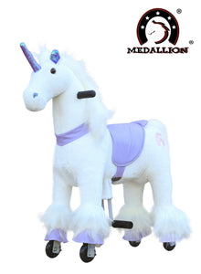 Medallion Ride On Toy Really Walking Horse PURPLE UNICORN - Small Size