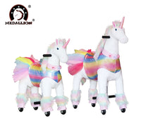 Medallion - My Rainbow Unicorn Ride On Toy Real Walking Horse Medium Size (RAINBOW Color) Headband & Skirt (TUTU)