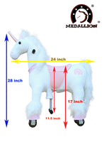 Medallion - My Unicorn Ride On Toy 28 inches Tall Horse for Girls and Boys Small Size 3 to 4 Years Old or Up to 55 Pounds