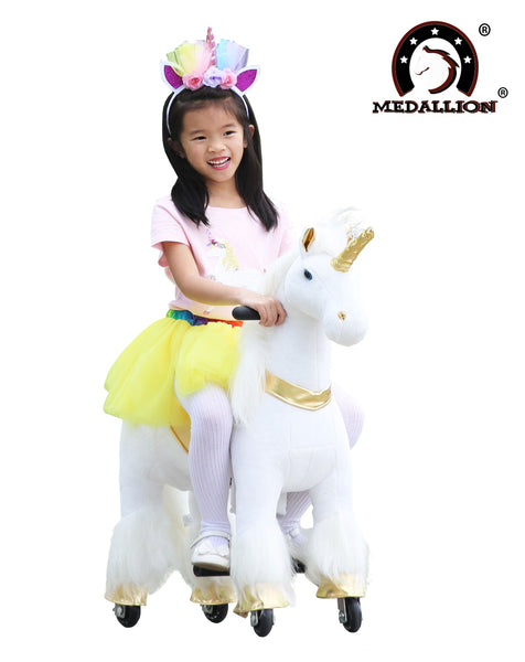 Medallion - My Unicorn Ride On Toy Horse for Girls with Tutu Skirt Small Size (Gold Color) with Headband & Skirt (TUTU) for Your Child