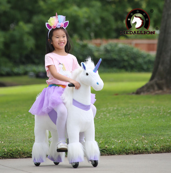 Medallion - My Unicorn Ride On Toy Horse for Girls with Tutu Skirt Small Size (Purple Color) with Headband & Skirt (TUTU) for Your Child
