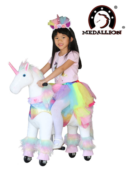 Medallion Ride On Toy Really Walking Horse in Rainbow Pink Unicorn - BONUS Tutu Gift Sets for Your Medallion and Your Child Small Size