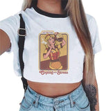 Short Sleeve Crop Top Funny Vintage Female Graphic Tees Dogs Fashion
