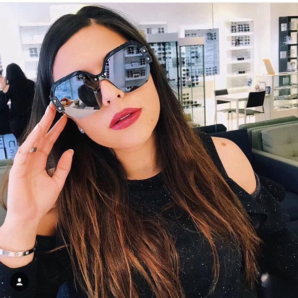 Large Frame Oversized Rimless Sunglasses