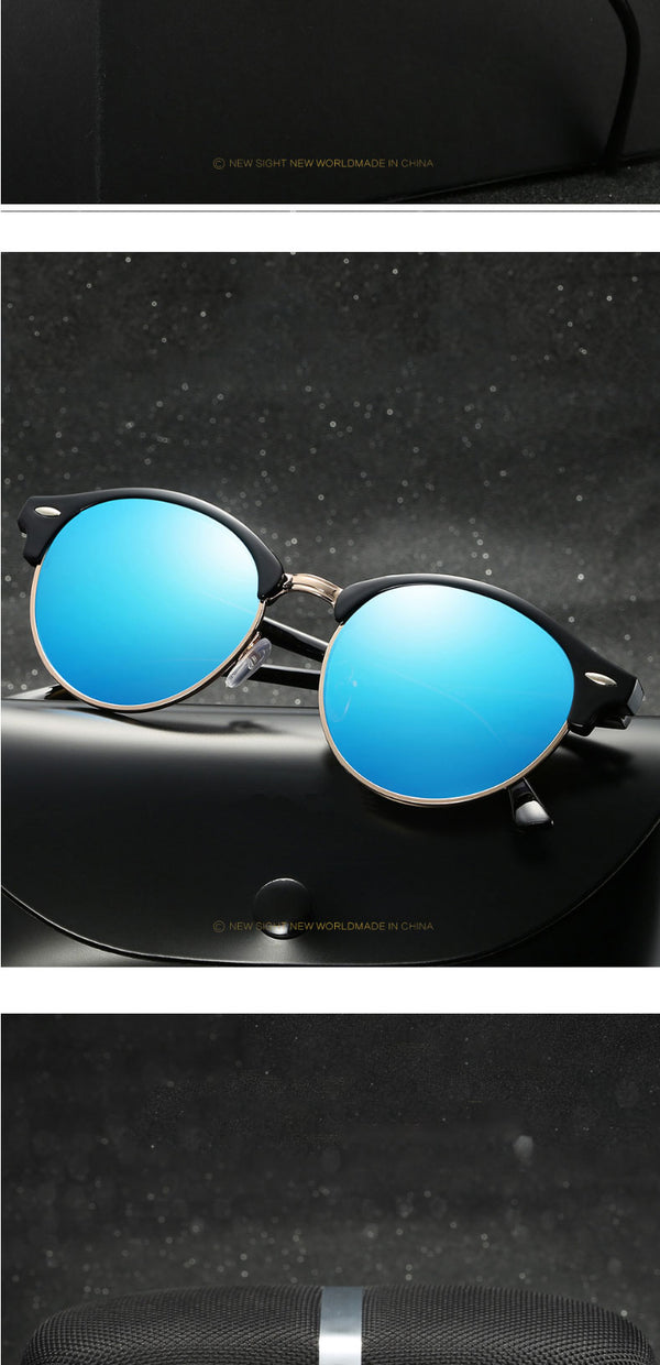 Reinforced Metal Hinge Polarized Round Sunglasses