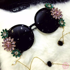 Baroque Pearl Chain Decoration Sunglasses (Black)