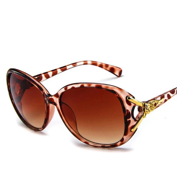 Umanco Gold Fox Charm Women Sunglasses Oversized Oval Vintage Eyewear 2018 Ladies Dazzling Gradient Red/Black Sun Glasses UV400