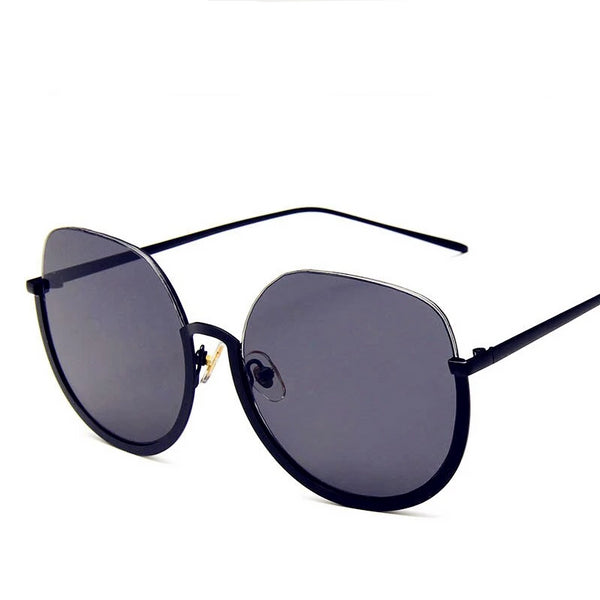 Big Round Lower Half Rim Sunglasses