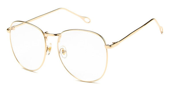 Big Metal Frame Retro Eyeglasses