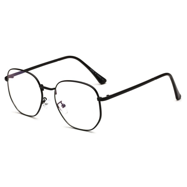Oversized Light Metal Round Blue Ray Computer Eyeglasses