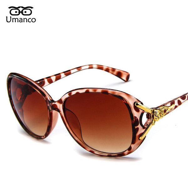 Gold Fox Charm Women Oversized Sunglasses