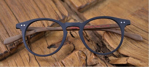 60's Vintage HIgh Craftmanship Wood Oval Eyeglass