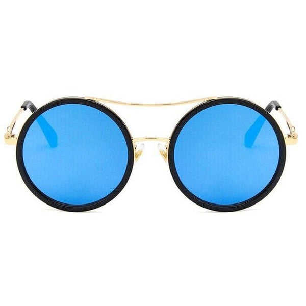 Elegant Oversized Double Beam Sunglasses - black blue - Sunglasses