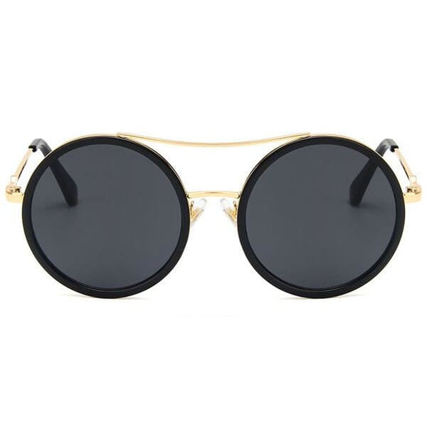 Elegant Oversized Double Beam Sunglasses - black gray - Sunglasses