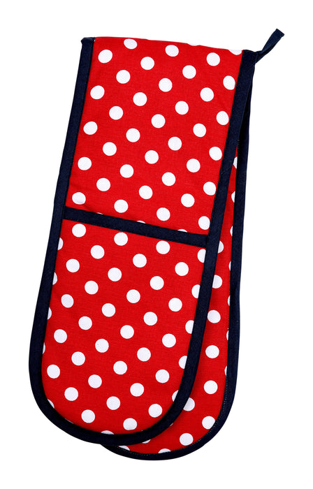 Double Oven Glove - Red Polka