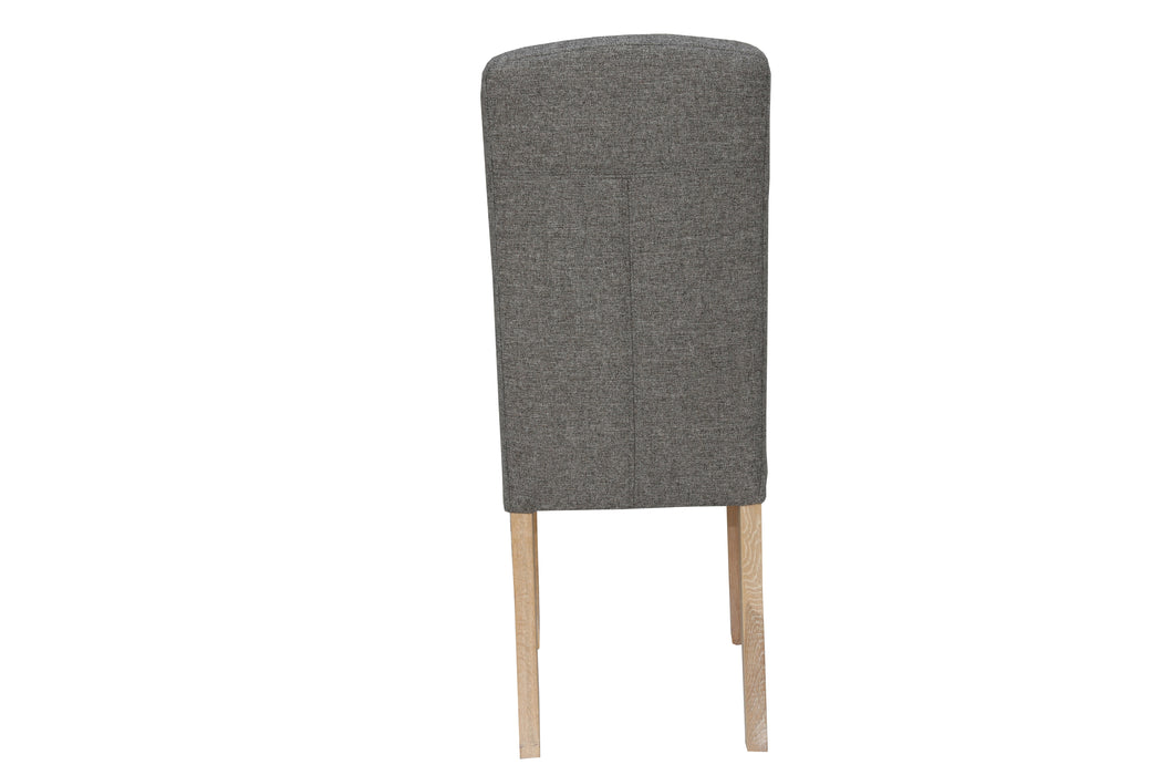 Button Back Upholstered Chair - Dark Grey