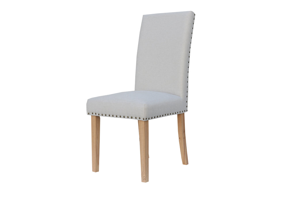 Straight back fabric chair - Natural