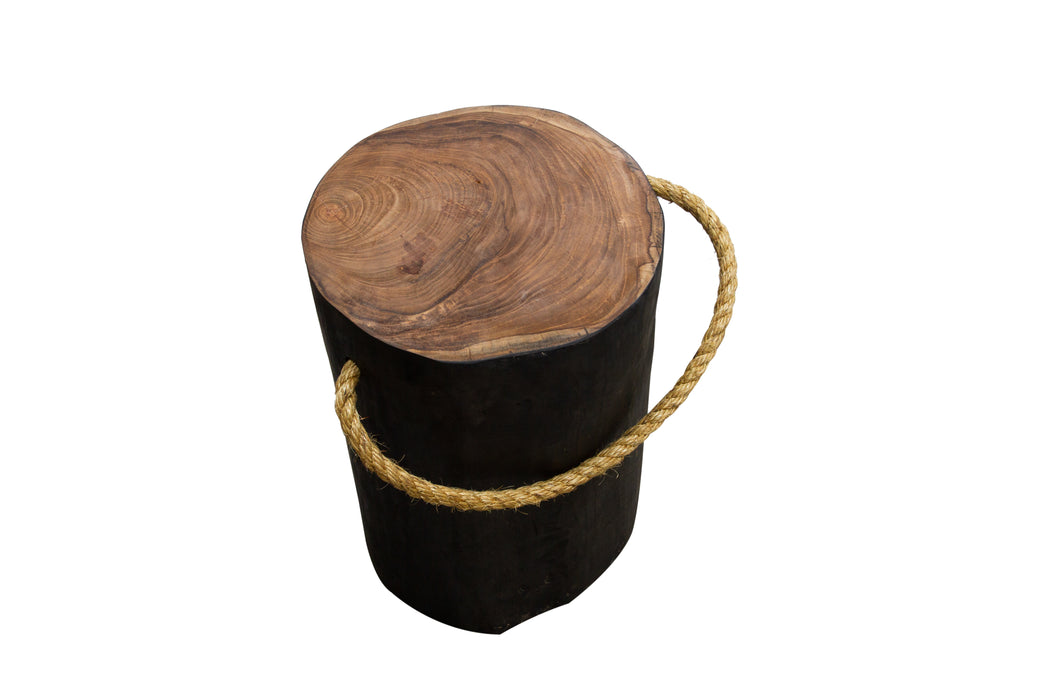STOMP Natural Teak Root Stool - Black