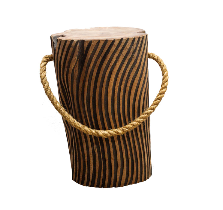STOMP Natural Teak Root Stool - Tiger Stripe