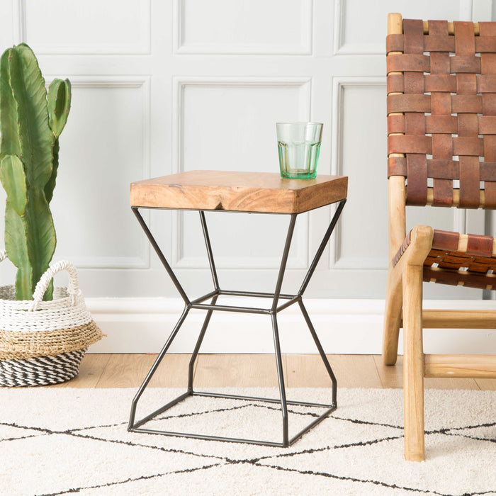 LILLIAN Wood & Steel Square X Stool