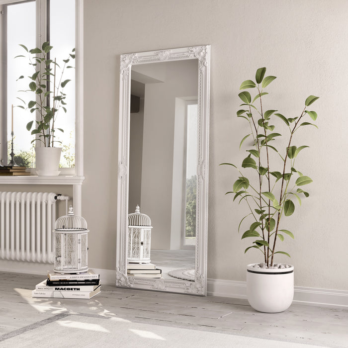 Accent Mirror White Painted Wooden Frame