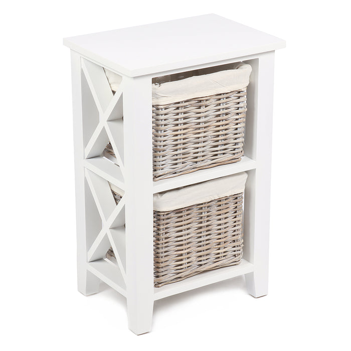 Vertical Cabinet with 2 Wicker Baskets