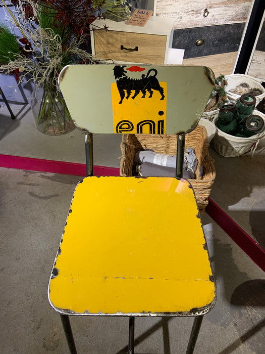 Oil Barrel Upcycled Bar Stool - Yellow ENI