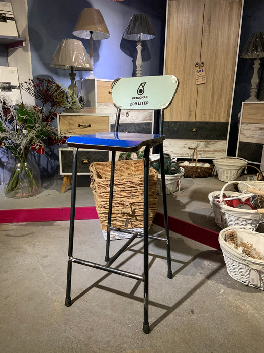 Oil Barrel Upcycled Bar Stool - Blue Petronas