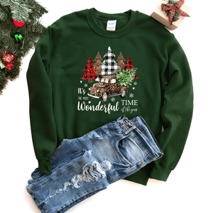 It's The Most Wonderful Time Of The Year (Leopard Print Christmas Truck) - Sweatshirt