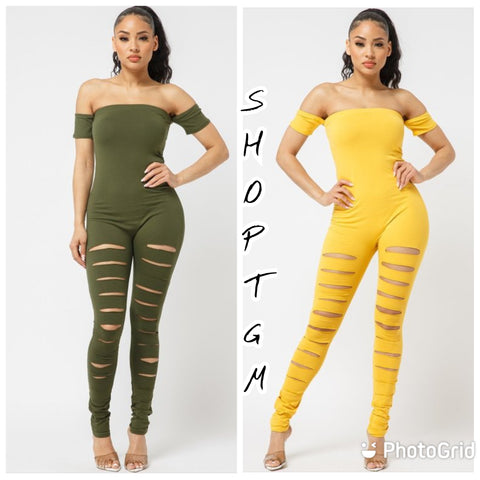 Hot Girl' Ripped Jumpsuit- Mustard & Olive