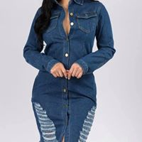 Denim Frayed Dress