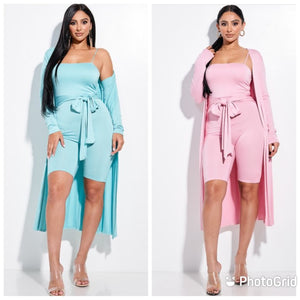 2 piece Romper with Duster Set- Aqua and Pink