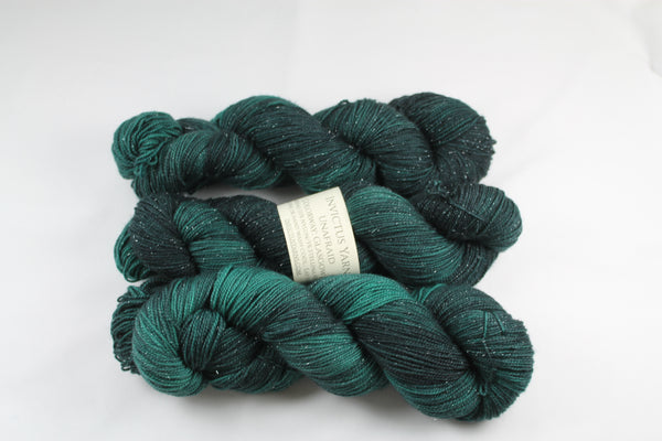 Glasgow Kiss Unafraid Superwash Merino/Nylon/Stellina fingering weight shimmer sock yarn