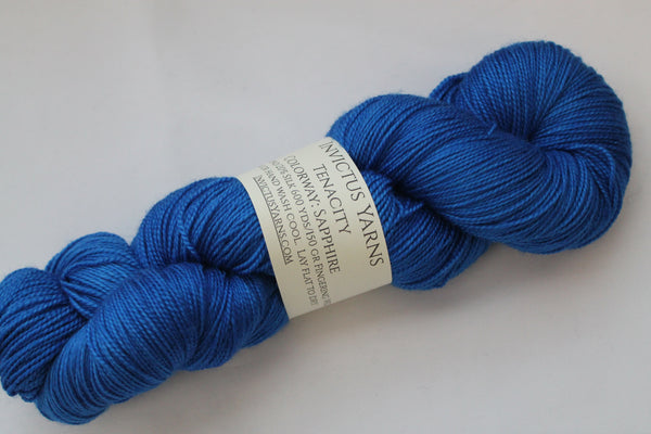 Sapphire Tenacity 80/20 merino/silk fingering weight yarn shawl length skein extra length