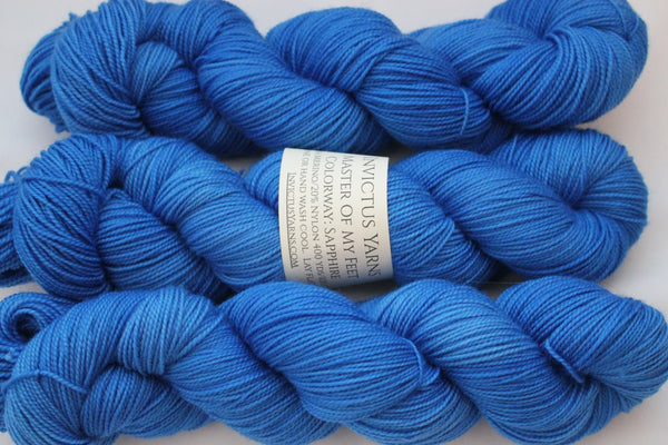 Sapphire Master of My Feet  merino/nylon fingering weight sock yarn