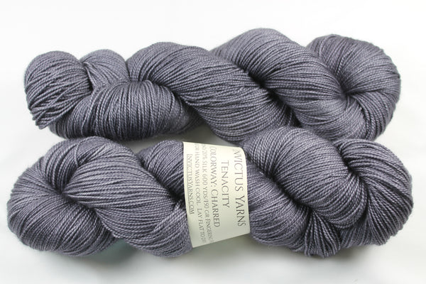 Charred Tenacity 80/20 merino/silk fingering weight yarn shawl length skein extra length