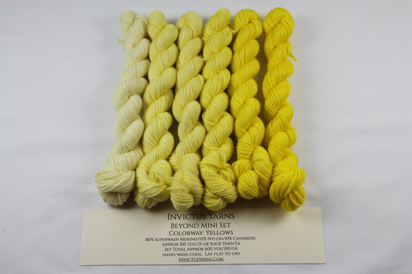 Yellows Beyond MCN Mini Kit fingering weight yarn