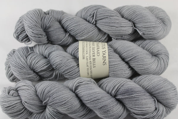Silver Bells Unafraid Superwash Merino/Nylon/Stellina fingering weight shimmer sock yarn