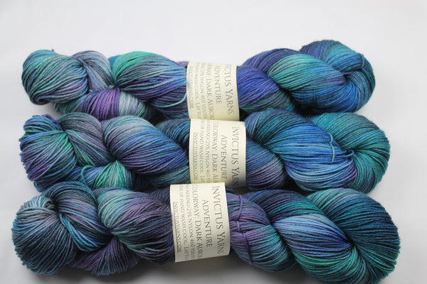 Dark Aurora Adventure merino/nylon sock yarn
