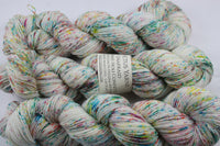 Holi Confetti Unafraid Superwash Merino/Nylon/Stellina fingering weight shimmer sock yarn