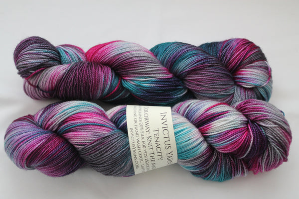 Knit the Madness Tenacity 80/20 merino/silk fingering weight yarn shawl length skein extra length