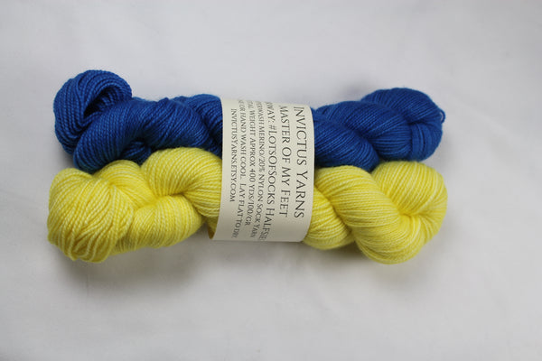 #LotsofSocks Halfsies Master of My Feet merino/nylon fingering weight sock yarn