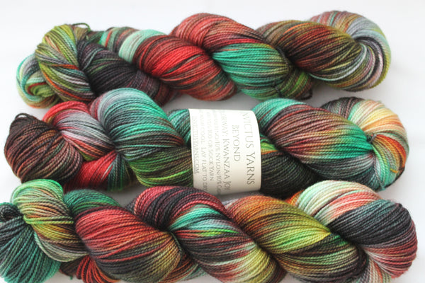 Kwanzaa Joy Beyond MCN fingering weight sock yarn
