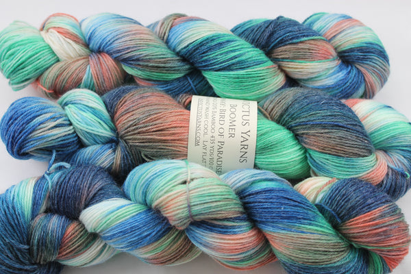 Bird of Paradise BooMer sock yarn merino/bamboo fingering weight yarn
